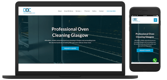 Diamond Oven Clean Web Design